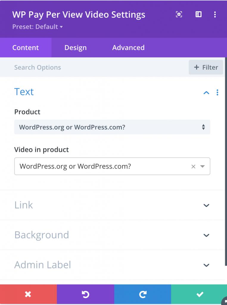 WP Pay Per View Divi Module Screencap - Select Product